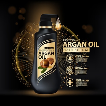 Argan oil hair care shampoo packaging design template