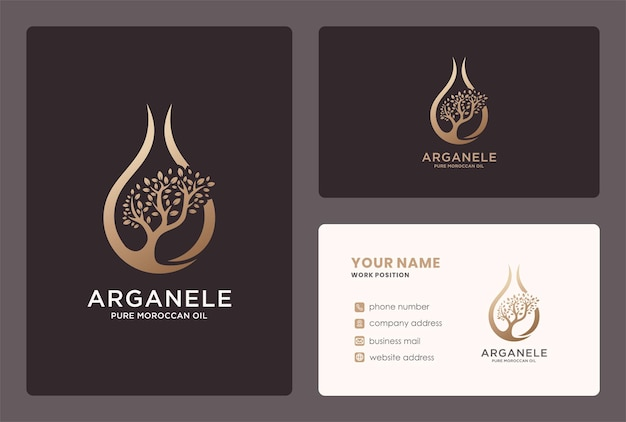 Argan oil logo logo and business card design.