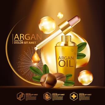 Сыворотка с аргановым маслом и косметика для ухода за кожей background concept