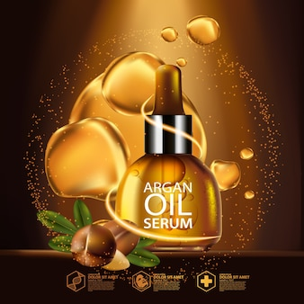Argan oil serum and background concept skin care cosmetic