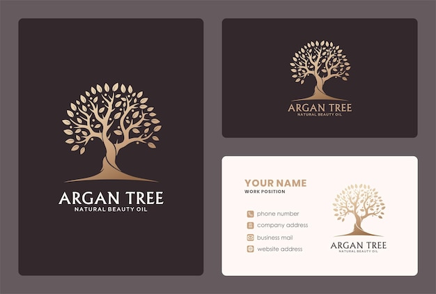 Argan tree or branch logo and business card design.