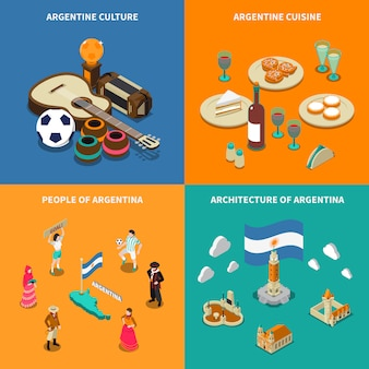 Argentina 4 touristic isometric icons square