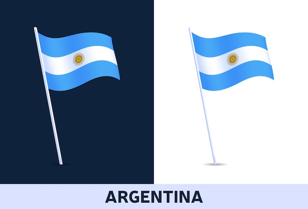 Argentina   flag. waving national flag of italy isolated on white and dark background. official colors and proportion of flag.   illustration.
