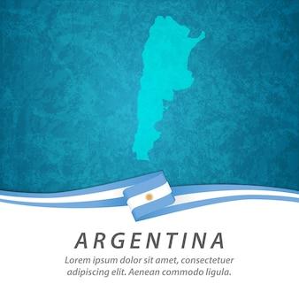 Флаг аргентины с центральной картой Premium векторы