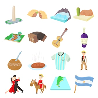 Argentina icons set in cartoon style vector
