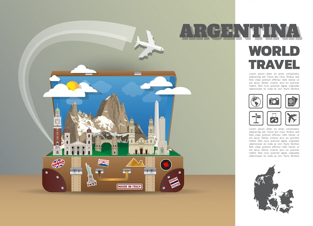 Argentina landmark global travel and journey infographic luggage.