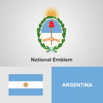 Argentina map flag and national emblem