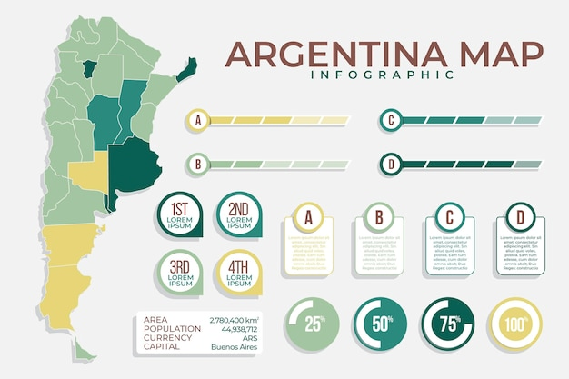 Argentina map infographic in flat design