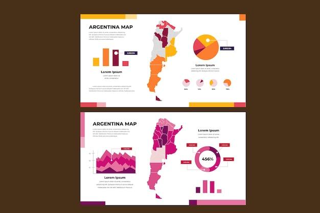 Argentina mappa infografica in design piatto