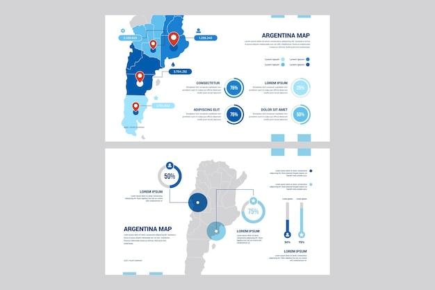 Аргентина карта инфографики в плоский дизайн