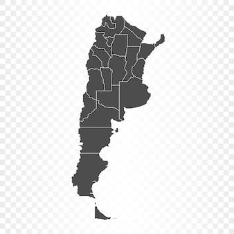 透明に分離されたアルゼンチンの地図