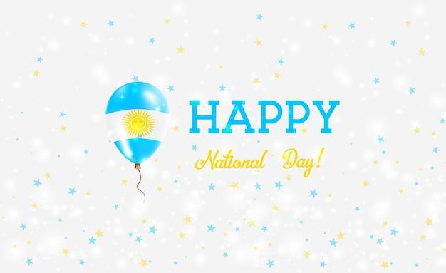 Национальный день аргентины патриотический плакат. летающий резиновый шар в цветах аргентинского флага. национальный день аргентины фон с воздушным шаром, конфетти, звездами, боке и блестками.