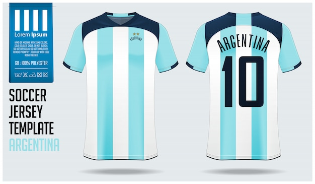 Argentina soccer jersey mockup or football kit template.