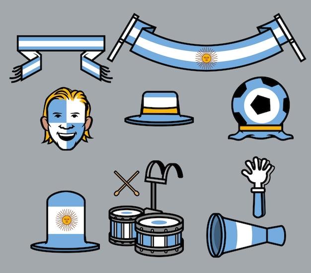 Argentina soccer supporter gear set