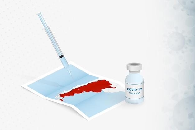 アルゼンチンのワクチン接種、アルゼンチンの地図でのcovid-19ワクチンの注射。