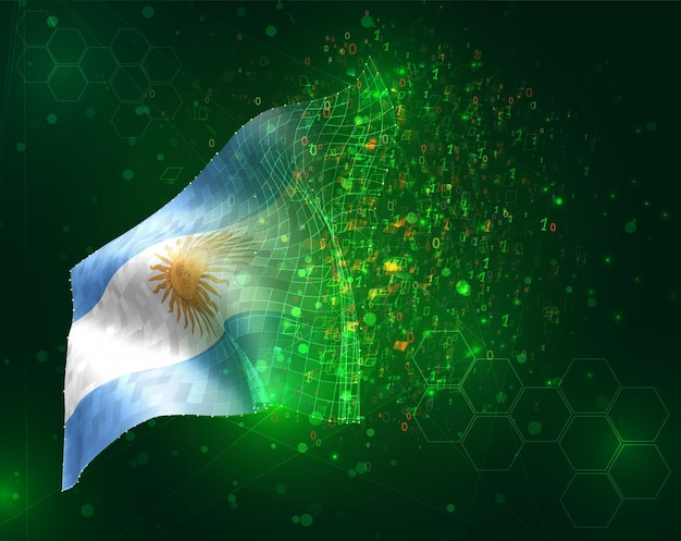 Argentina, vector 3d flag on green background with polygons and data numbers