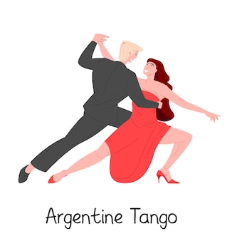 Argentine tango dancing passionate couple isolated on white background