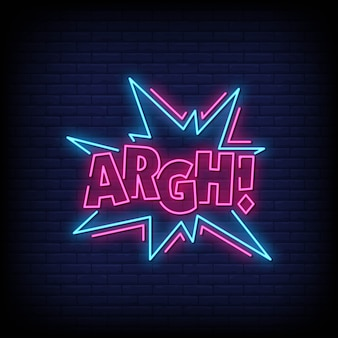 Argh neon signs style text vector