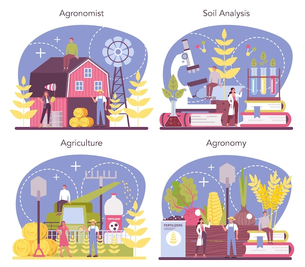 Набор концепций аргономиста. ученый проводит исследования в области сельского хозяйства. идея земледелия и выращивания. органический отбор урожая. отдельные векторные иллюстрации