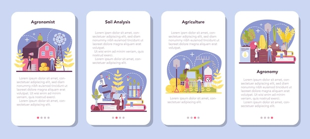 Argonomist mobile application banner set. scientist making research in agriculture.
