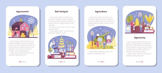Набор баннеров мобильного приложения argonomist. ученый проводит исследования в области сельского хозяйства.