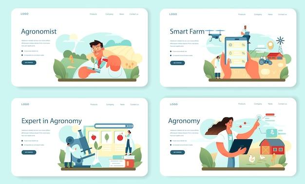 Набор веб-баннера или целевой страницы argonomist. ученый проводит исследования в области сельского хозяйства. идея земледелия и выращивания. органический отбор урожая. отдельные векторные иллюстрации