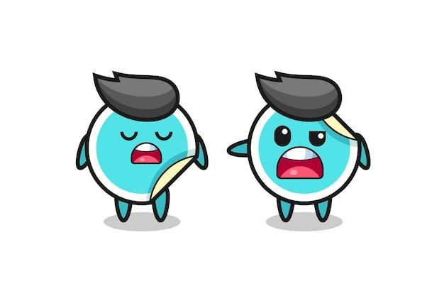 두 귀여운 스티커 캐릭터 사이에서 논쟁