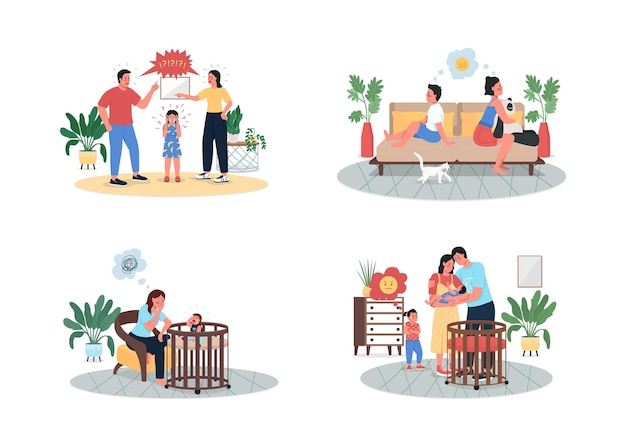 Arguing parents and children flat detailed character set. angry kid. mom and dad with baby. family conflict isolated cartoon  collection
