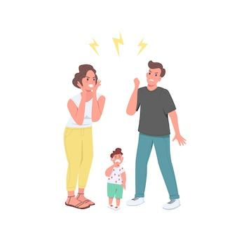 Arguing parents flat color detailed characters