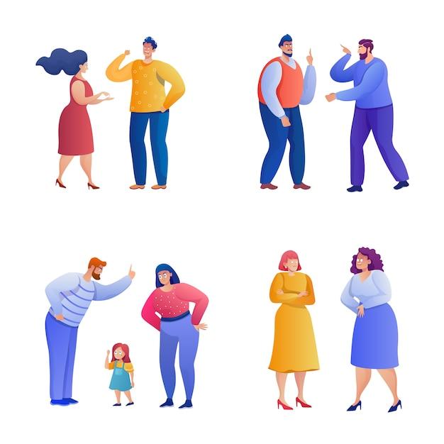 論争の人々sセット。怒っている男性と女性がキャラクターを叫び、叫びます。関係の問題、誤解、家族の対立要素パック