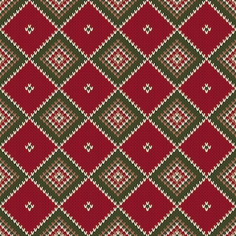 Argyle abstract seamless knitting pattern. christmas knitted sweater design. wool knit texture imitation.
