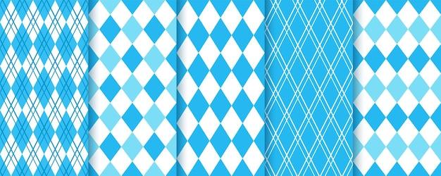 아가일 완벽 한 패턴입니다. 마름모꼴 블루 다이아몬드 배경입니다. 바이에른 옥토버페스트 텍스처입니다.