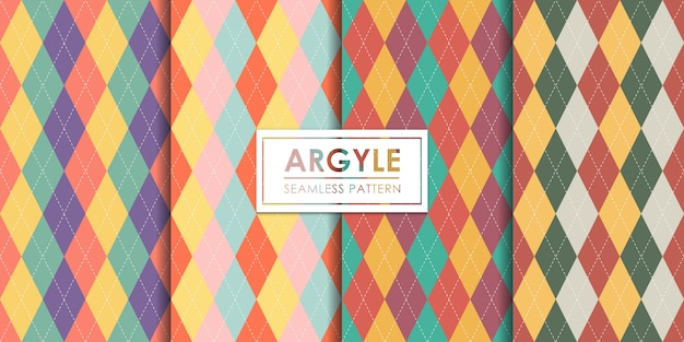 Argyle seamless pattern set, decorative wallpaper.