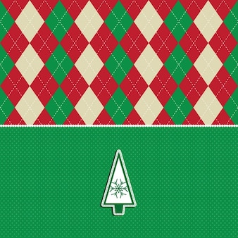 Рождественская открытка с argyle узором и дерево дизайн