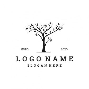 乾燥した木のロゴのコンセプト、フラットなデザインテンプレート。