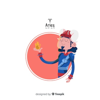 Aries character hand drawn style