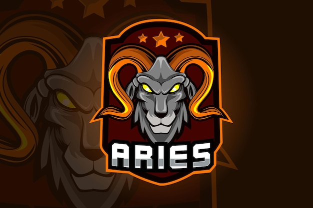 Aries goat mascot for sports and e sports logo isolated on dark background