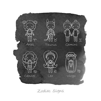 Aries taurus gemini cancer leo virgo zodiac signs and black watercolor background