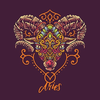 Aries zodiac hand drawn illustration