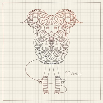 Aries zodiac horoscope sign and copybook paper background. cute singing girl.   hand drawing illustration