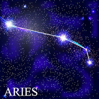 Aries zodiac sign with beautiful bright stars on the background of cosmic sky  illustration