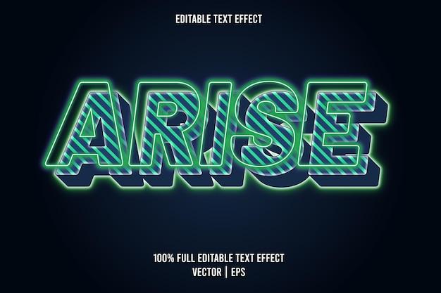 Редактируемый текстовый эффект arise в неоновом стиле