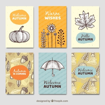 Aritistic pack of hand drawn autumn cards