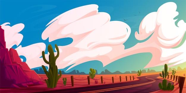 아스팔트 도로 바위와 선인장 야생 서부 고속도로가 있는 애리조나 사막 풍경
