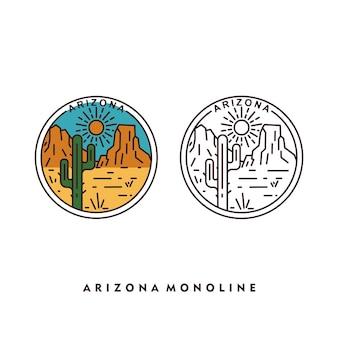 アリゾナ砂漠の雰囲気のモノラインデザイン