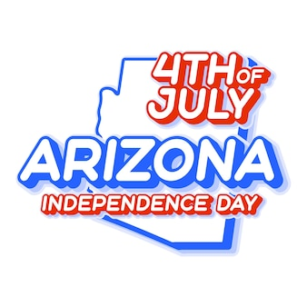 Arizona state 4th of july independence day with map and usa national color 3d shape of us