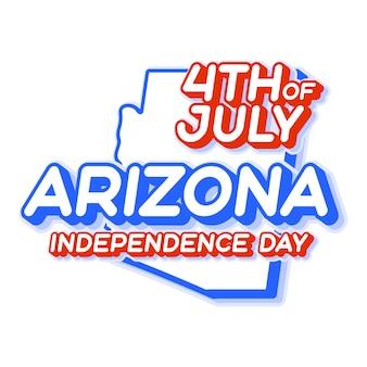 Штат аризона 4 июля в день независимости с картой и национальным цветом сша 3d-формой сша