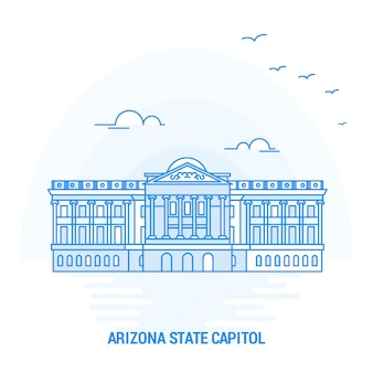 Аризонский государственный капитол blue landmark Premium векторы