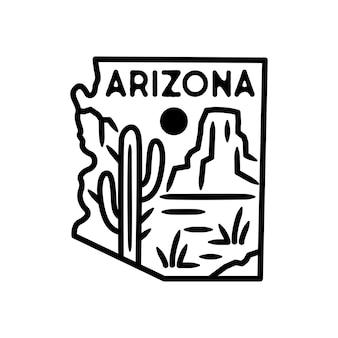 Arizona sticker and label, monoline badge