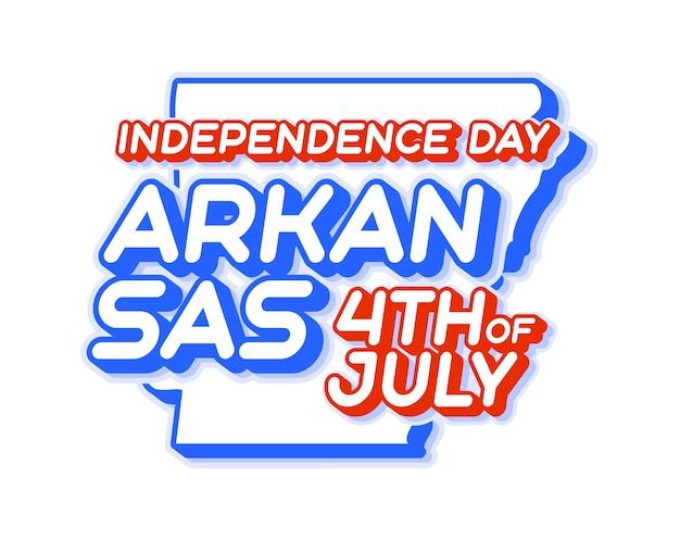 Штат арканзас 4 июля в день независимости с картой и национальным цветом сша 3d-формой сша